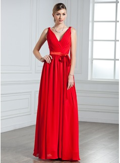 A-Line/Princess V-neck Floor-Length Chiffon Charmeuse Evening Dress With Ruffle (017022550)