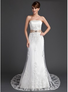 Trumpet/Mermaid Strapless Court Train Satin Tulle Wedding Dress With Lace Sash Crystal Brooch Sequins