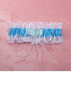 Attractive Satin Lace With Rhinestone Wedding Garter Skirt