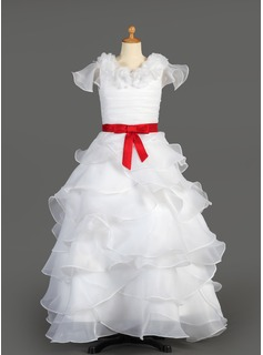 A-Line/Princess Scoop Neck Floor-Length Taffeta Organza Flower Girl Dress With Sash Flower(s) Bow(s) Cascading Ruffles