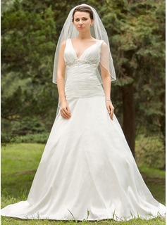 A-Line/Princess V-neck Chapel Train Wedding Dress With Ruffle Lace Beadwork (002024694)