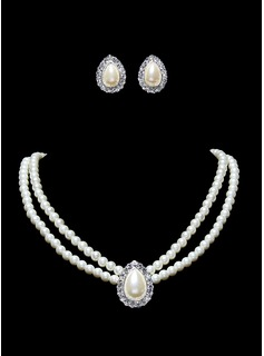 Ivory Pearl Two Piece Mini Heart Ladies Necklace and Earrings Jewelry Set (011016320)