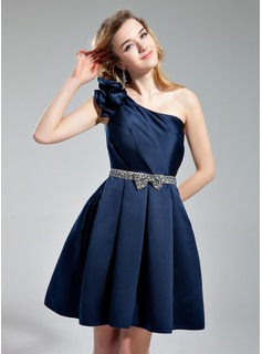 A-Line/Princess One-Shoulder Knee-Length Satin Homecoming Dress With Sash Beading Bow(s)