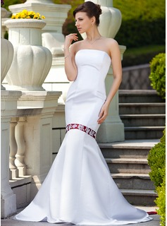 Mermaid Strapless Watteau Train Satin Wedding Dress With Sash Beadwork Appliques
