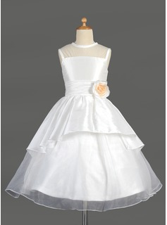 A-Line/Princess Scoop Neck Tea-Length Taffeta Organza Flower Girl Dress With Flower(s) Cascading Ruffles