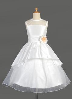 Corte A/Princesa Escote redondo Té de longitud Tafetán Organdí Vestido para niña de arras con Flores Cascada de volantes