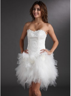 A-Line/Princess Sweetheart Short/Mini Satin Tulle Cocktail Dress With Lace Flower(s) (016008220)