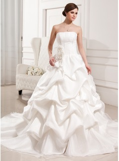 Ball-Gown Strapless Cathedral Train Organza Satin Wedding Dress With Ruffle Flower(s) (002011426)