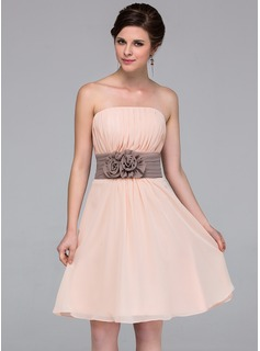 A-Line/Princess Strapless Knee-Length Chiffon Bridesmaid Dress With Sash Flower