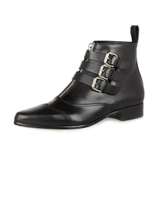 Real Leather Low Heel Ankle Boots With Buckle shoes