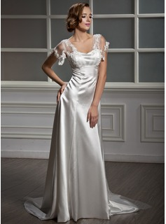 A-Line/Princess Sweetheart Watteau Train Tulle Charmeuse Wedding Dress With Lace