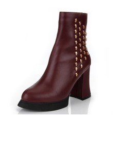 Real Leather Chunky Heel Platform Ankle Boots With Rivet shoes (088040915)