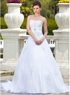 Ball-Gown Sweetheart Chapel Train Satin Tulle Wedding Dress With Embroidery Beadwork