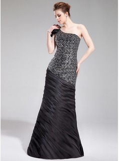 Mermaid One-Shoulder Floor-Length Charmeuse Sequined Evening Dress With Ruffle Flower(s)