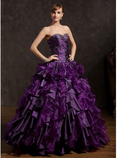 Ball-Gown Sweetheart Floor-Length Taffeta Organza Quinceanera Dress With Ruffle Beading