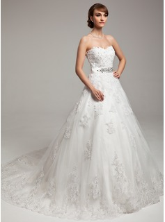 Ball-Gown Sweetheart Chapel Train Satin Tulle Wedding Dress With Lace Beadwork (002017538)