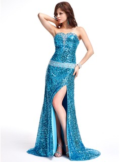 A-Line/Princess Sweetheart Sweep Train Sequined Evening Dress With Beading