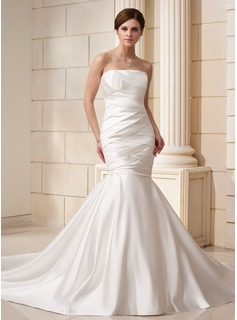 Mermaid Strapless Cathedral Train Satin Wedding Dress With Ruffle