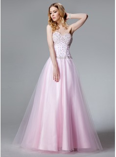 A-Line/Princess Sweetheart Floor-Length Satin Tulle Quinceanera Dress With Beading