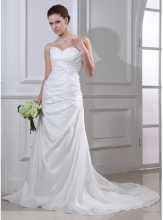 Mermaid Sweetheart Court Train Taffeta Wedding Dress With Ruffle Lace Beadwork (002012668)