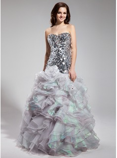 Mermaid Sweetheart Floor-Length Organza Sequined Prom Dress With Beading