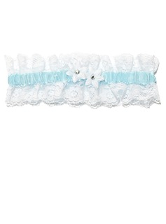 Delicate Satin Lace With Flower Wedding Garters