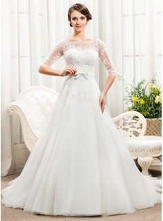 A-Line/Princess Off-the-Shoulder Court Train Satin Tulle Lace Wedding Dress With Beading Sequins Bow(s)