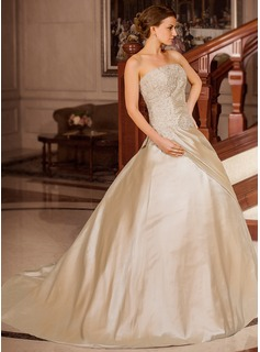 Ball-Gown Strapless Court Train Taffeta Wedding Dress With Ruffle Lace Beadwork (002012179)