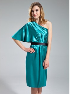 Sheath/Column One-Shoulder Knee-Length Charmeuse Bridesmaid Dress With Ruffle Sash