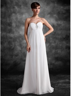 Empire Sweetheart Sweep Train Chiffon Maternity Bridesmaid Dress With Ruffle Lace Beading Sequins