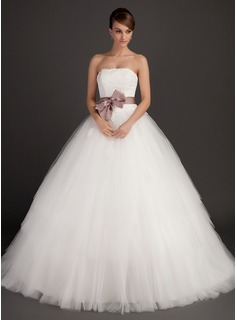 Ball-Gown Strapless Sweep Train Satin Tulle Wedding Dress With Sash Appliques Lace Bow
