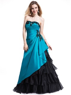 A-Line/Princess Sweetheart Floor-Length Taffeta Organza Prom Dress With Lace Beading Cascading Ruffles