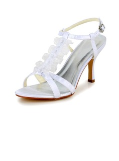 Women's Satin Stiletto Heel Pumps Sandals With Buckle Stitching Lace (047040226)