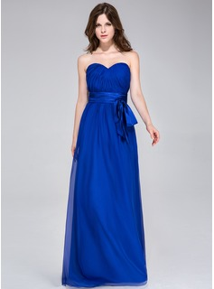 A-Line/Princess Sweetheart Floor-Length Chiffon Charmeuse Bridesmaid Dress With Ruffle