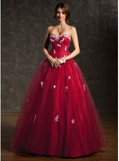 Ball-Gown Sweetheart Floor-Length Tulle Quinceanera Dress With Ruffle Lace Beading