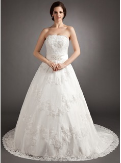 A-Line/Princess Strapless Chapel Train Satin Tulle Wedding Dress With Lace Beading Bow(s)