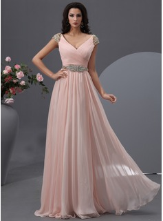 A-Linie/Princess-Linie V-Ausschnitt Bodenlang Chiffon Ballkleid mit Rschen Perlen verziert (018022748)