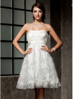 Empire Strapless Knee-Length Satin Lace Wedding Dress With Ruffle Beadwork