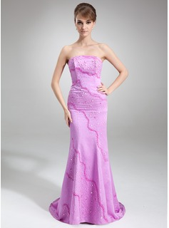 Trumpet/Mermaid Strapless Sweep Train Satin Evening Dress With Beading