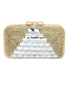 Elegant Polyester With Crystal/ Rhinestone Clutches