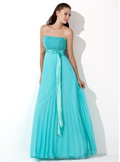 A-Line/Princess Strapless Floor-Length Chiffon Charmeuse Evening Dress With Sequins Bow(s) Pleated