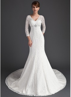 Mermaid V-neck Chapel Train Satin Lace Wedding Dress With Beadwork (002011525)