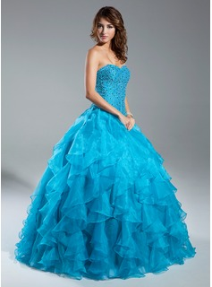 Ball-Gown Sweetheart Floor-Length Organza Quinceanera Dress With Beading (021015343)