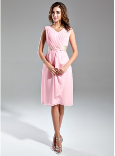 A-Line/Princess V-neck Knee-Length Chiffon Satin Bridesmaid Dress With Ruffle Sash (007024295)