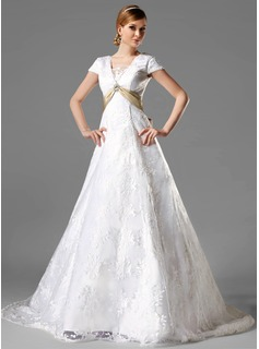 A-Line/Princess Square Neckline Chapel Train Satin Lace Wedding Dress With Sash Crystal Brooch Bow(s)