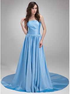 A-Line/Princess Strapless Chapel Train Taffeta Evening Dress With Ruffle