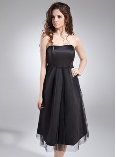 Empire Sweetheart Knee-Length Satin Tulle Maternity Bridesmaid Dress With Ruffle