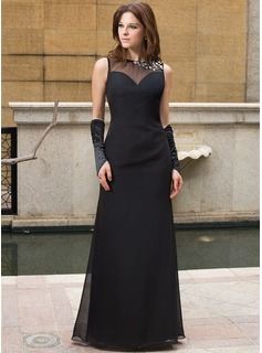 Sheath Scoop Neck Floor-Length Chiffon Tulle Evening Dress With Beading