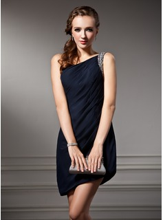 Sheath One-Shoulder Asymmetrical Chiffon Cocktail Dress With Ruffle Beading (016021178)