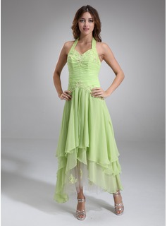 A-Line/Princess Halter Asymmetrical Chiffon Tulle Homecoming Dress With Ruffle Lace Sequins (022020336)